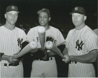 Mickey Mantle,  Roger Maris Yankees Willie Mays Giants 8x10 Photo 1962 W.  S