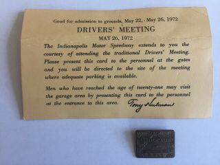 1972 Indianapolis 500 Pit Pass Pin And Drivers Meeting Invitation.