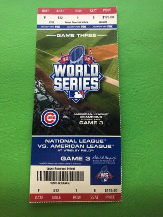 Chicago Cubs World Series Phantom Ticket Game 3 Ticket Wrigley Field Ships