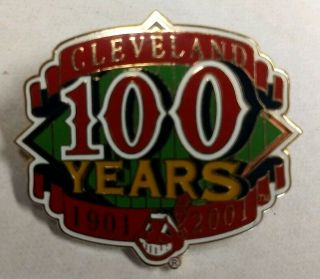 "Cleveland Indians "" 100 Years 1901 - 2001 "" Limited Edition Anniversary Pin Rare"