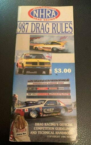5vintage 1987 National Hot Rod Association Nhra Drag Racing Rule Book