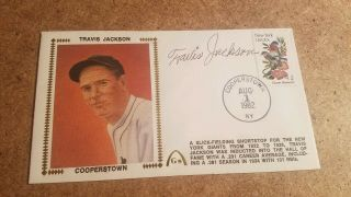 1982 Travis Jackson Cooperstown Cover Signed Signature