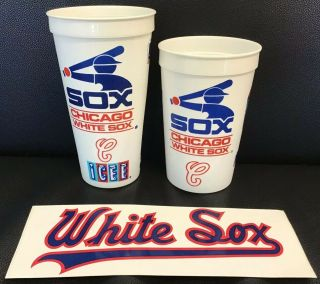 Chicago White Sox 1980s (2) Icee Souvenir Cups & One 87 White Sox Bumper Sticker