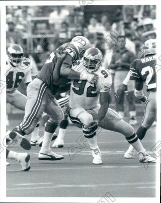 1989 Philadelphia Eagles Hof Reggie White Action Vs Seattle Sehawks Press Photo