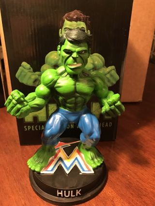 2017 Miami Marlins Incredible Hulk Marvel Bobblehead Avengers