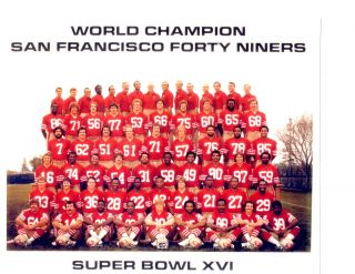 1982 San Francisco Forty Niners 8x10 Team Photo Sb Xvi California Football Nfl