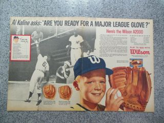 Vintage 1962 Wilson Al Kaline A2000 A2930 Fox A2020 Baseball Glove Advertisement