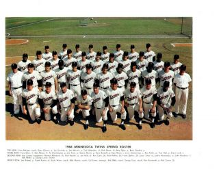 1968 Minnesota Twins 8x10 Team Photo Baseball Killebrew Oliva Carew Roseboro Hof
