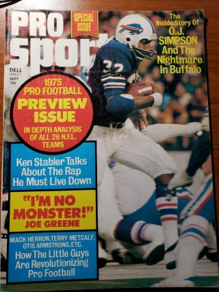 1975 Pro Sports Buffalo Bills Oj Simpson Nfl Preview Joe Greene Ken Stabler