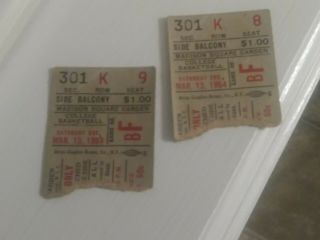 Two 1954 College Of The Holy Cross Madison Square Garden Basketball Ticket Stubs
