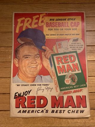 Vintage Red Man Baseball Advertising Tobacco Poster Johnny Mize