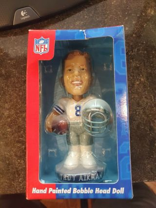 Troy Aikman Dallas Cowboys Qb Club Hand Painted Bobblehead Doll Nfl