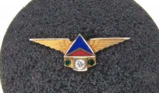 Vintage Delta Airlines 10k Gold,  Enamel Balfour 30 Year Service Pin Real Diamond