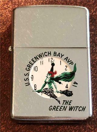 Vintage 1958 Town & Country Zippo Lighter The Green Witch