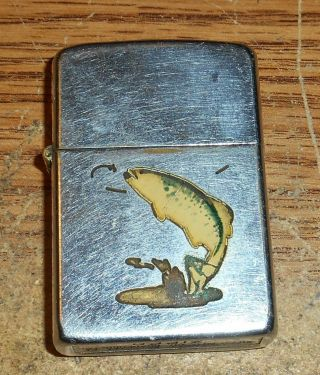 Late 1940s/early 1950s Zippo Town And Country Trout Full Size Lighter/rare