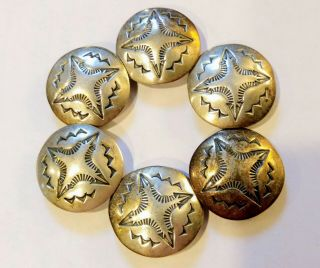 Vtg Sterling Silver Western Rodeo Square Dance Cowboy Concho Shirt Button Covers