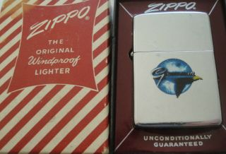 Vintage 1961 Grumman Town & Country Zippo Lighter In Candy Striped Box