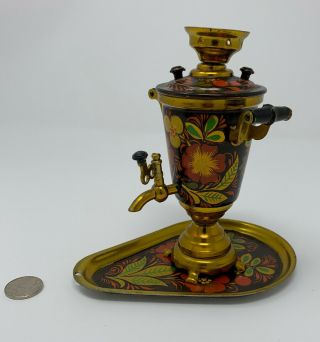 Vintage Miniature Russian Samovar With Tray Souvenir