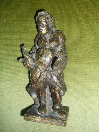 Unusual Antique 19 C French Bronze Hunchback Peasant Figure,  Dispatching Chicken