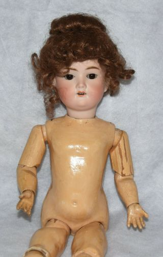 "Antique 18 "" Em 890 1 1/2 Germany Bisque Head Doll Composition Wood Jointed Body"