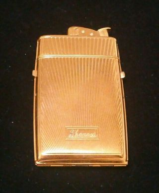 Vintage Evans Art Deco Cigarette Case And Lighter Combo.  Gold Tone Finish
