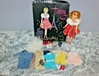 Vintage 1965 Tammy Doll With Case & Clothes Minty Rare Fur Stole Bs - 12 3