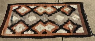 "Antique Navajo Wool Rug Blanket Native American Southwest Textile 66 "" X 34 """