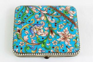 Imperial Russian Silver - Gilt And Cloisonné Enamel Cigarette Case 84 Moscow