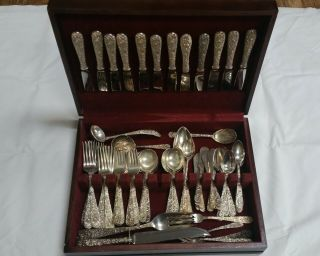 85 Piece Set Of Kirk Repousse Sterling Silver Flatware Service For 12 With Extrs