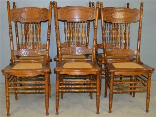 17896 Set Of 6 Refinished 1 Larkin Press Back Dining Chairs