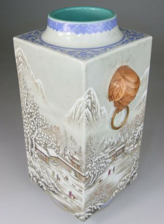 Antique Rare Chinese Porcelain Vase Famille Rose Gilt Mark - Republic Period