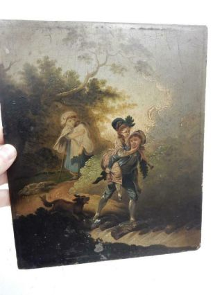Really Old Painting Antique Oil Wood Panel