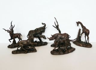 Franklin African Wildlife Bronzes - Antique A,  Full Set In Orig.  Packaging