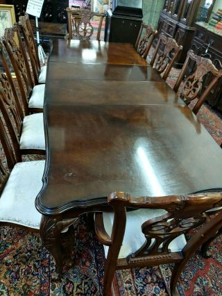 Dining Table With 2 Leaf Expansion Ten Chairs And Matching China Cab & Backboard