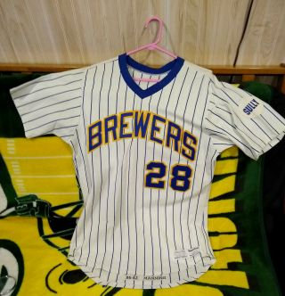 Rick Manning Game Worn Jersey 28 Milwaukee Brewers Sully 1980