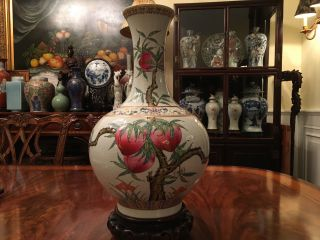 A Large And Rare Chinese Famille Rose Porcelain Peach Vase,  Marked.