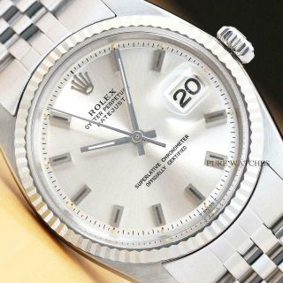 Rolex Mens Datejust 18k White Gold & Steel Watch W/ Silver Dial