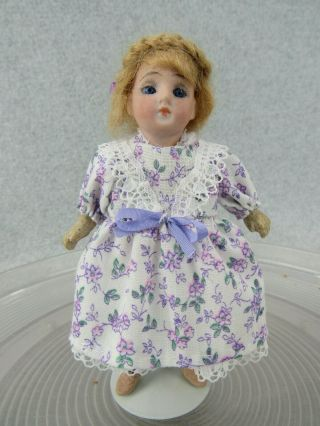 """5 """" Antique Bisque Head German Doll With Glass Eyes Dollhouse Size Doll"""