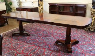 Rare Narrow Width 38 Inch Wide Empire Flame Mahogany Dining Banquet Table Leaves