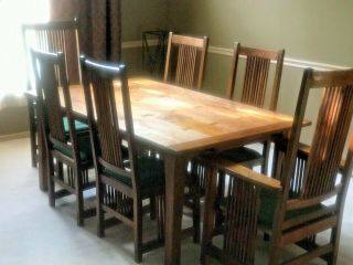Arts & Craft Mission Stickley Furniture Dining Room Table 2 Arm & 4 Side Chairs