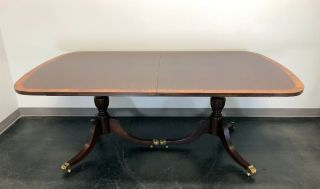 Banded Mahogany Double Pedestal Dining / Banquet Table