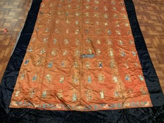 Extremely Large Antique Chinese Silk Panel With Immortals Qing Period Textile