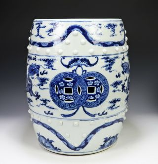 Antique Chinese Blue And White Porcelain Barrel Form Garden Seat With Dragons