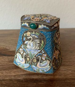 "An Antique Russian Silver Enamel Cloisonné Tea Caddy/box - 9oz,  3"" - Marked"