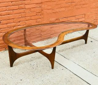 Mid - Century Modern Pearsall Style Kidney Coffee Table By Lane Vintage