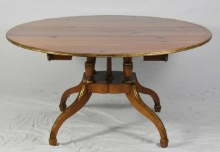 Baker Historic Charleston Pine Round Dining Room Table With 2 Leaves
