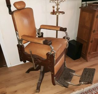 Gorgeous Brown Leather & Tiger Oak 1900 Koken Barber Chair W/lever Must Sell