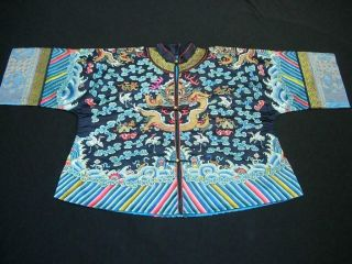 A Good Antique Chinese Embroidered Blue Silk Dragon Robe Jacket
