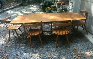 Reserved: Paul Mccobb Planner Group Drop - Leaf Dining Set Table And 4 Chairs