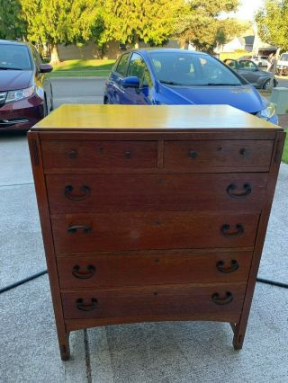 Limbert Highboy Oak Antique Dresser Arts And Crafts Mission